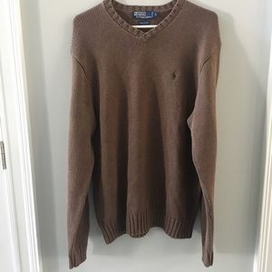 Ralph Lauren Brown V Neck Sweater Size Large